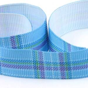 BLUE-TARTAN-DESIGN-GROSGRAIN-RIBBON-16mm-amp-10mm-DUMMY-CLIPS-CRAFTING-CARDMAKING