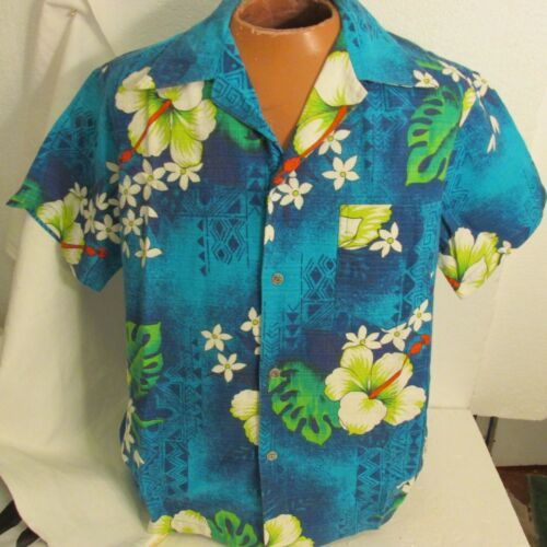 Royal Hawaiian Shirt Vtg  Barkcloth Japanese Butto