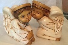 HAND CARVED PAINTED WOOD Putti ANGEL PAIR FIGURINES / Statues ~ Signed TALEN
