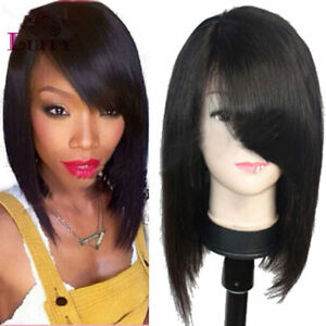Short-Bob-13-6-Lace-Front-Human-Hair-Wigs-Pre-Plucked-Full-Lace-Wigs-With-Bangs