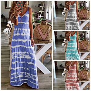 Womens Strappy Maxi Long Kaftan Floral Dress Summer Beach Holiday Loose Sundress