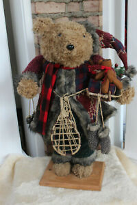 CHRISTMAS-BROWN-BEAR-30-034-TALL-CUTE-STURDY-FIREPLACE-DECOR-stands-alone-EXC-COND