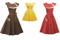 Rosa Rosa Vtg 1950s Retro Polka Dot Rockabilly Party Prom Swing Tea Dress