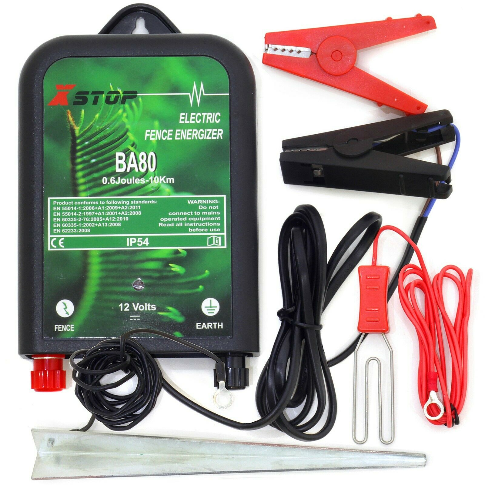 BA80 ELECTRIC FENCE ENERGISER UNIT 10km 12v BATTERY POWERED FENCING 0.6J CE RoHS