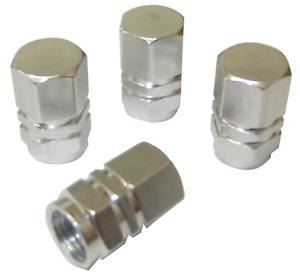 4-x-Quality-Silver-Hexagonal-Metal-Tyre-Valve-Dust-Caps-for-Cars-Bikes-Vans
