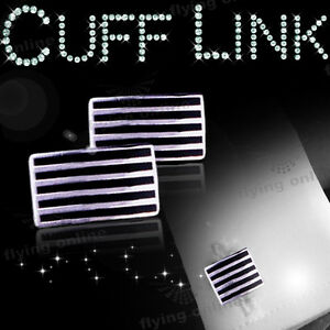 New-Mens-Stainless-Steel-Metal-Retangle-Black-Cufflinks-Cuff-Links