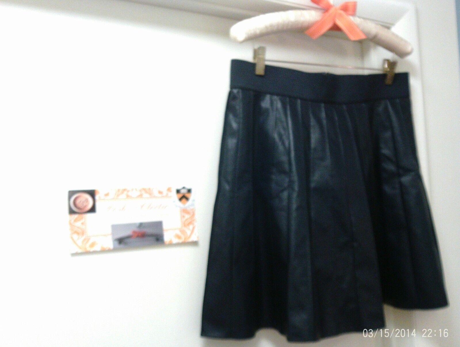 NWT   119  Classy ANN TAYLOR Womens Faux Leather Pleated Skirt  Navy blue  Medium