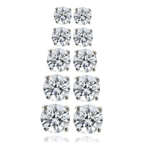 Argent sterling Zircone cubique Lot de 5 Clous d/'oreilles ronds