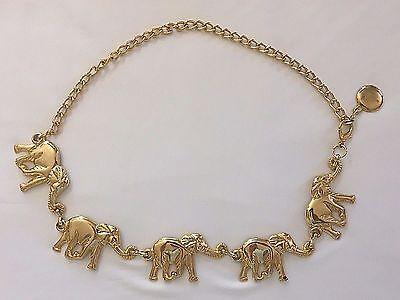 Elephant Belt Gold Brass Colored Metal Chain Fashion Accessory Medium Adjustable