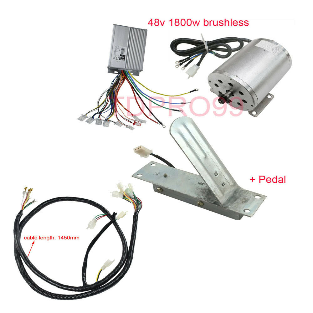 1800W 48V Brushless Motor Controller Throssotle Pedal Wire Harness Electric gokart
