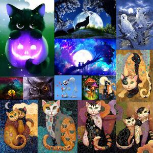 5D-DIY-Full-Halloween-Cat-Diamond-Painting-Embroidery-Cross-Stitch-Kit-Home-Art