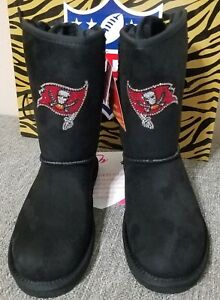 Cuce-Boots-NFL-Tampa-Bay-Buccaneer-Black-Bow-Boots-w-Crystals-Women-039-s-Size-8-New