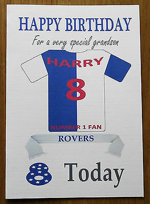 """/""""Doncaster Rovers Style/"""" Personalised UNOFFICIAL Football Birthday card"""