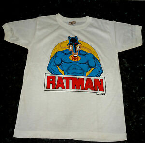 RATMAN VINTAGE T SHIRT 80'S SMALL VERY RARE / BATMAN SUPERMAN DC MARVEL COMICS