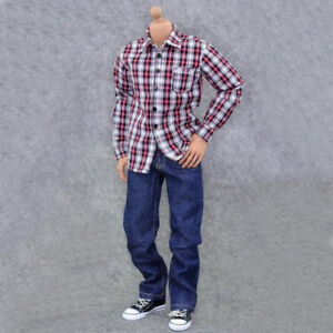 ZYTOYS 1//6 ZY5012 Women/'s Blue Plaid Denim Suit Female Shirt Jeans Clothing Toys