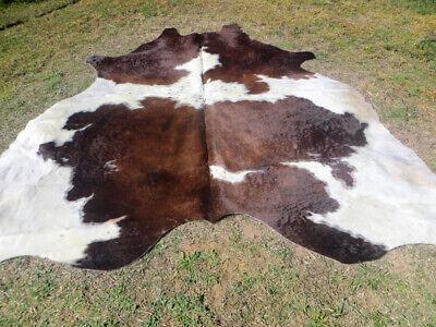 DARK BROWN chocolate /& WHITE Cowhide Rug natural Cowhides Cow Hide Skin black BC