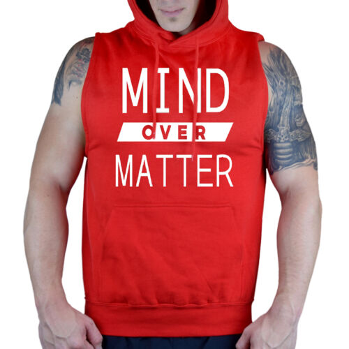 Men/'s Mind Over Matter Red Sleeveless Vest Hoodie Workout Gym Fitness Muscle Fit