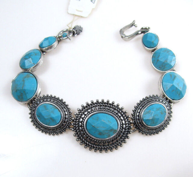 Lucky Brand Gem Bazaar Turquoise Set Stone Link Silver Tone Bracelet New