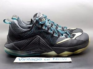 adcc6fef7fe3 Nike LeBron XII 12 Low SVSM Black Gold Anthracite Emerald sz 9.5