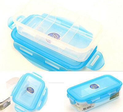 Clear Divided Lunch Container Bento Food Box 3-Splitter Stackable Dishes Storage