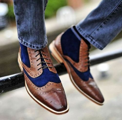 MEN NEW HANDMADE REAL SUEDE LEATHER TWO TONE ROYAL BLUE BLUE BLUE & BROWN ANKLE HIGH BOOTS 94796b