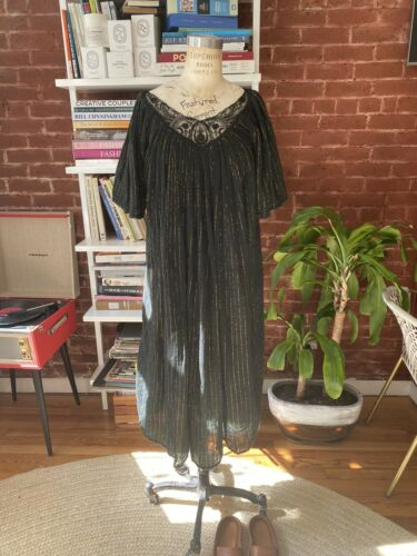 Vintage  Black Gauze Dress Made In India Size Smal