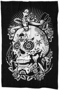 SKULL-TOTENKOPF-Dekotuch-115x75-cm-Wandbehang-Tuch-Totenschaedel-Baumwolle-Mexiko