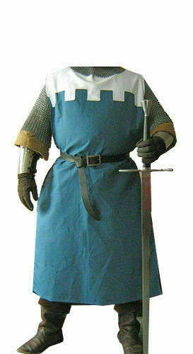 Medieval Clothing Costumes Crusader Surcoat Reenactment Tunic White&Blue Theate.