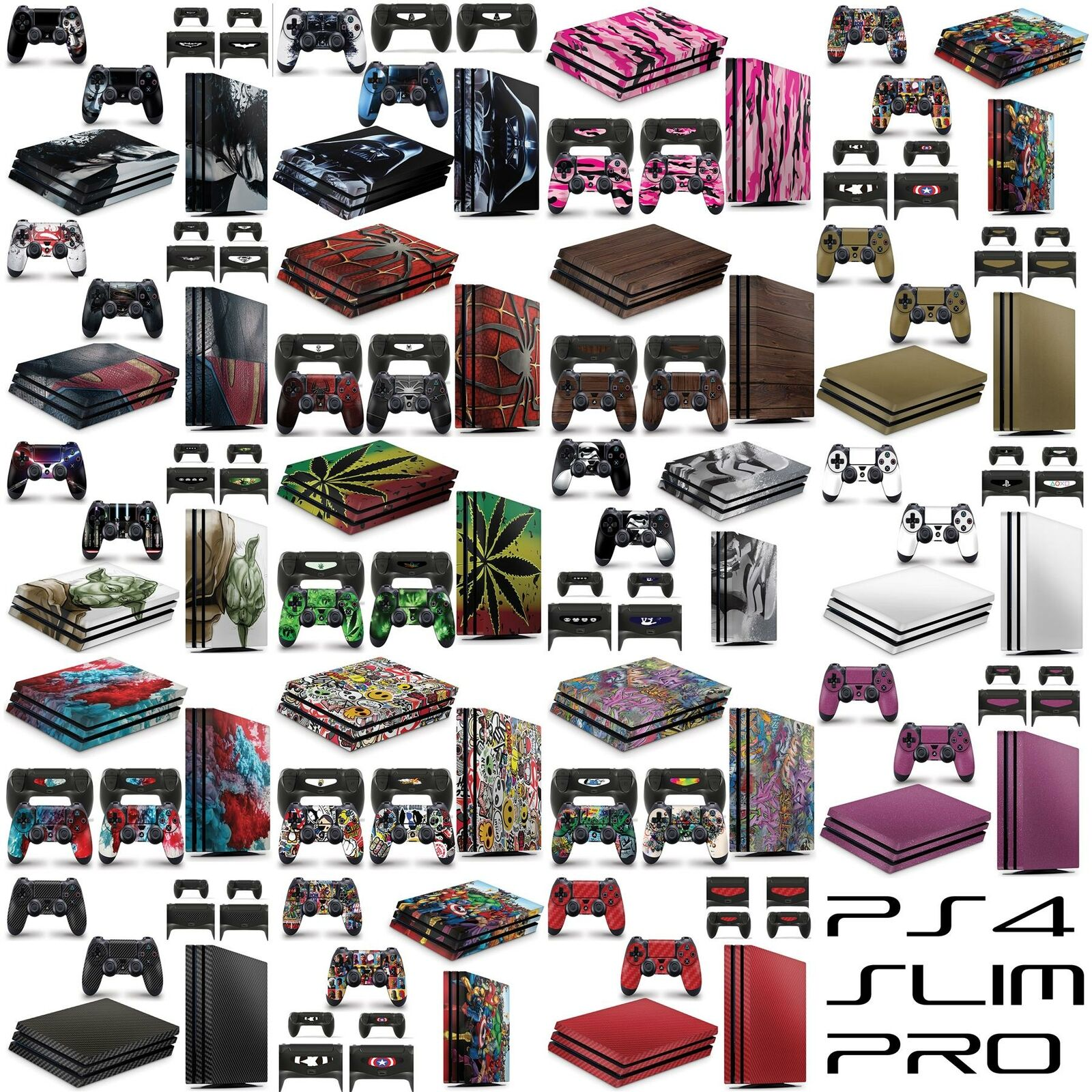 Playstation 4 Slim Pro Console Skin Vinyl Cover Stickers + 2 Controller
