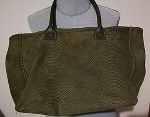 Borsa Donna in vera pelle scamosciata lavorata  - Shopper Bag Woman Verde