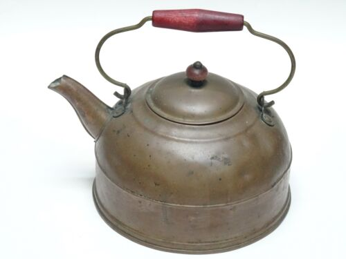 ANTIQUE ENGLISH COPPER KETTLE w WOOD HANDLE BEAUTIFUL PATINA