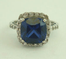 Nice 10K White Gold Blue Sapphire White Topaz Halo Style Band Ring Sz7.5 B5603