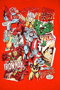 Marvel-Iron-Man-Spider-Man-Captain-America-Thor-Wolverine-T-Shirt-L-Avengers