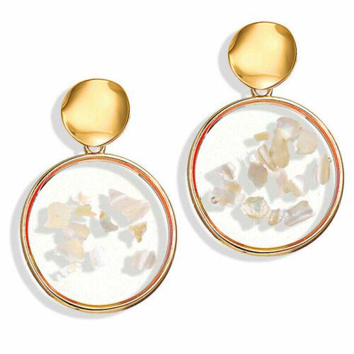 Bohemia Natural Shell Pendant Geometric Hoop Drop Earrings Women Fashion Jewelry