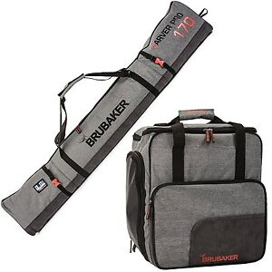 BRUBAKER Ski Bag Combo 'Performance' - Boot Bag and Ski Bag - Gray - 170 or 190