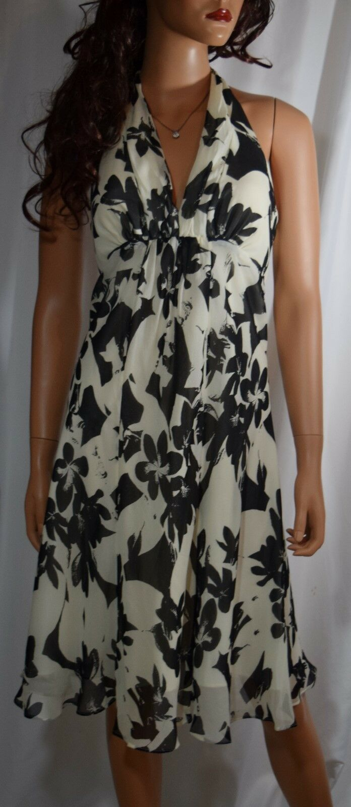 White House Black Market Floral Silk Lined Halter Dress