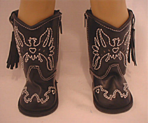 Black  Cowboy Boots with Eagle Design Fits 18 inch American Girl Dolls