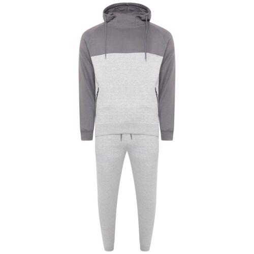 Mens Plain Zip Pockets Fleece Full Tracksuit Cuffed Jogging Bottoms Hoodie Lot