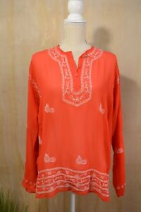 Moda-International-Red-sheer-embroidered-sequined-tunic-blouse-size-S