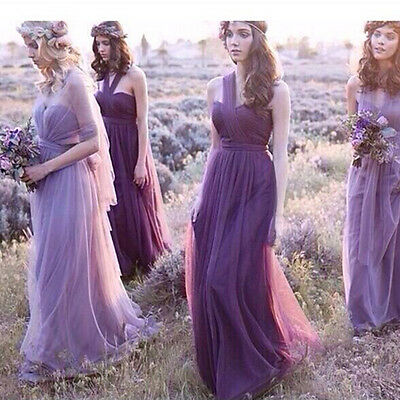 Formal Long Evening Ball Gown Party Prom Bridesmaid Dress Purple Chiffon Dresses