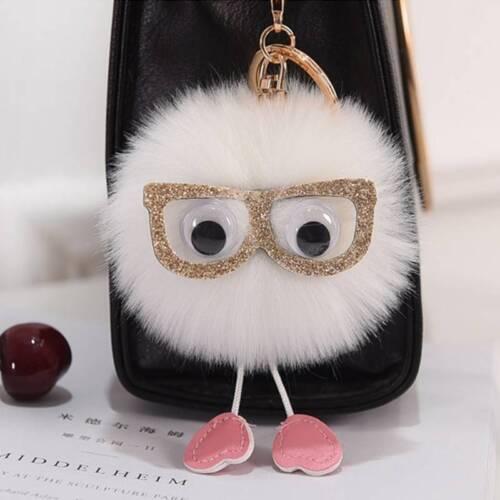 New Rabbit Fur Fluffy Pompom Ball Car Handbag Pendant Handbag Key Chain Keyrings
