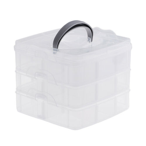 Plastic Clear Jewelry Beads Organizer Box Storage Container Craft Tools Case