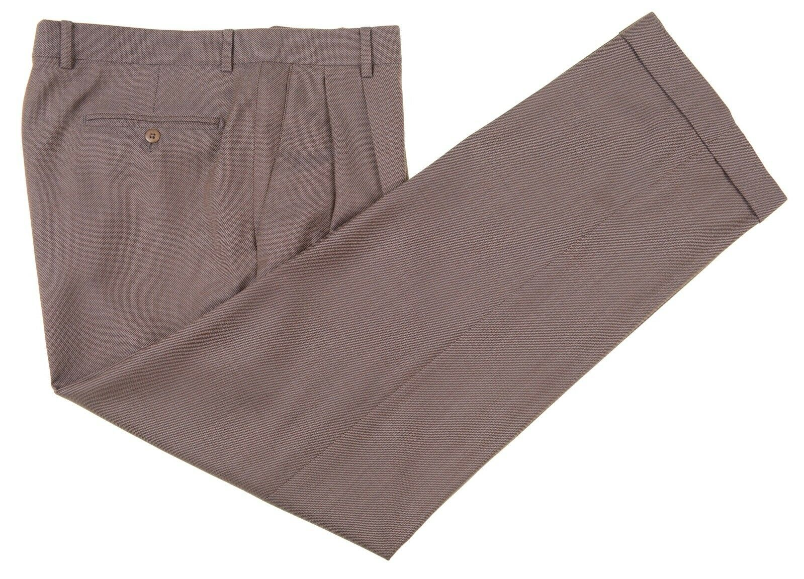 Zanella Bennett Made in ITALY Brown Woven Wool Dress Pants 36 x 31