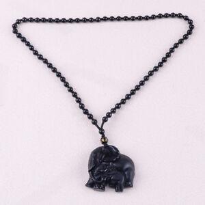 großer Abverkauf erstaunliche Qualität Los Angeles Elefanten Obsidian 60CM Amulett Halskette - 48mm GANESHA ...