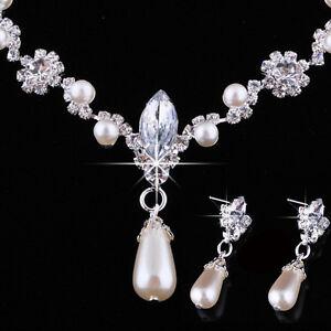 Hochzeit-Faux-Perlen-Strass-Halskette-Wassertropfen-Ohrring-Schmuck-Sets-G3D