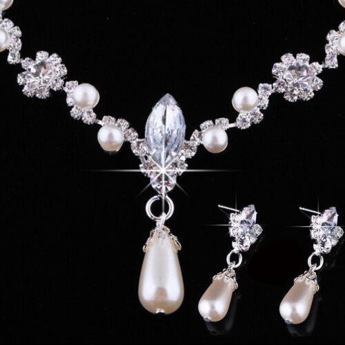Boda de Moda Perlas de Imitación collar del Rhinestone gota de agua pendiente joyería setsf