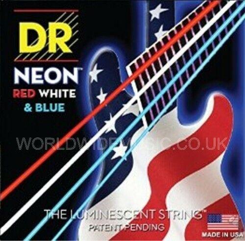 DR NEON NUSAB6-30 Neon rot Weiß Blau Fluorescent Bass Guitar 6 Strings 30-125