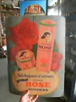 Vintage Erasmic Rose Talcum & Toilet Powder Ad Litho Paper Sign Board ADV EHS