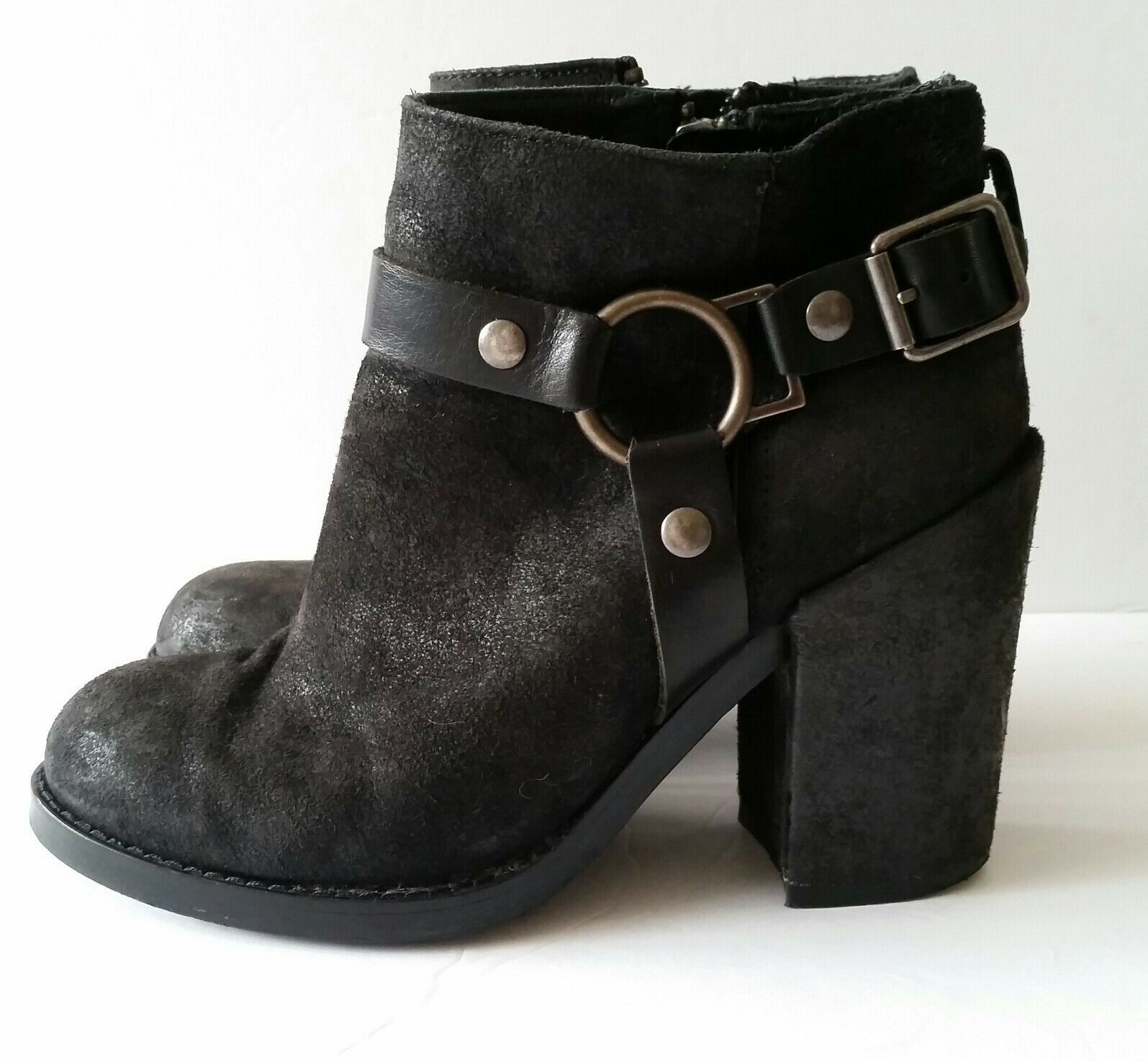 Ash Falcon Black Leather Moto Ankle Boots Women's 37 Harness Heel Bootie EUC 298