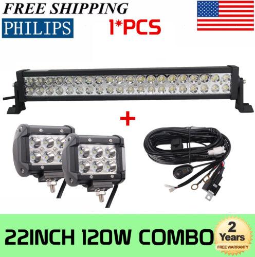 PHILIPS 22INCH 120W Combo LED Light Bar 4inch 18W Lights W// Wiring Harness Kit